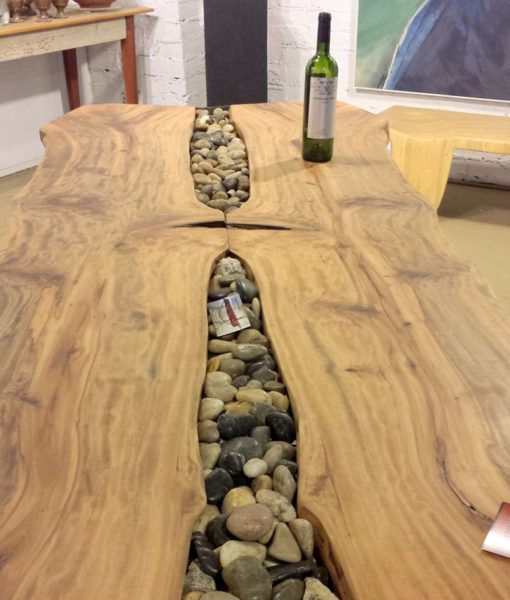 Dining Table With River Rocks Accent Beyondblue