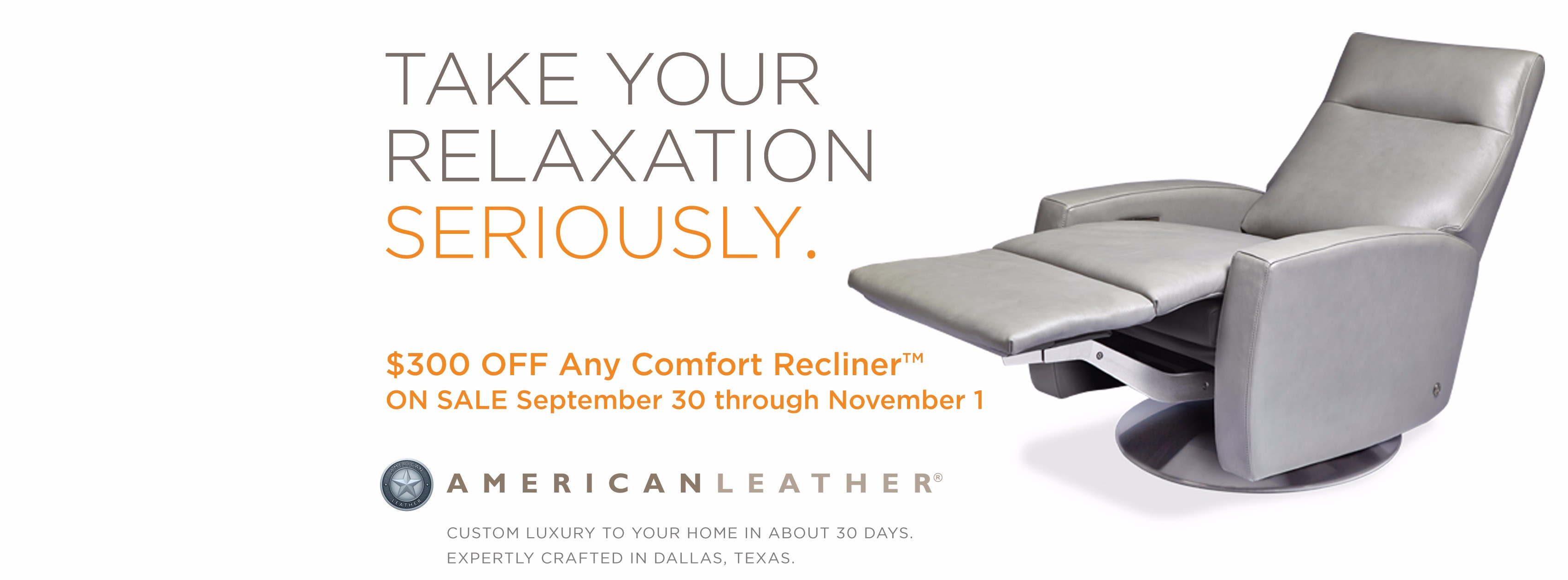 American Leather Recliner Sale   Save $300 On Amazing Relaxation    BeyondBlue Interiors   Raleigh, Durham, Chapel Hill NC Home Furnishings  Interior Design